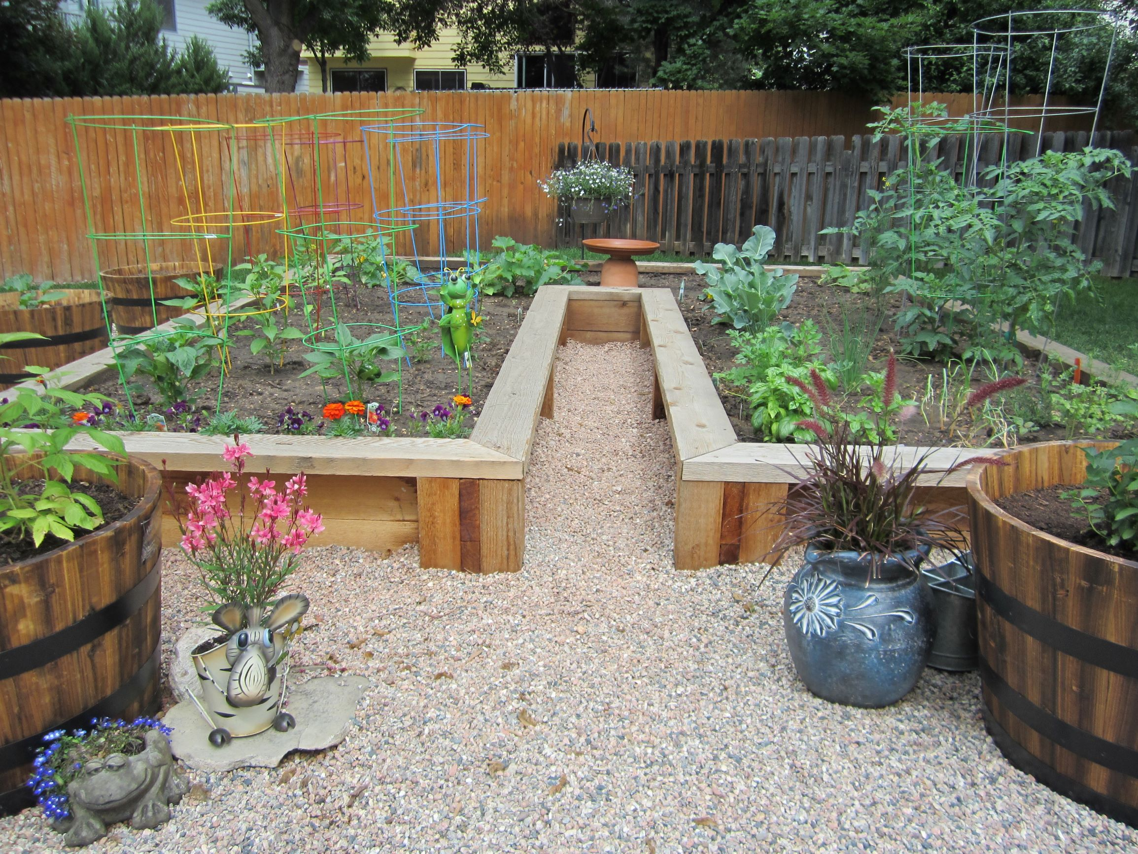 Raised beds on top of pea gravel.