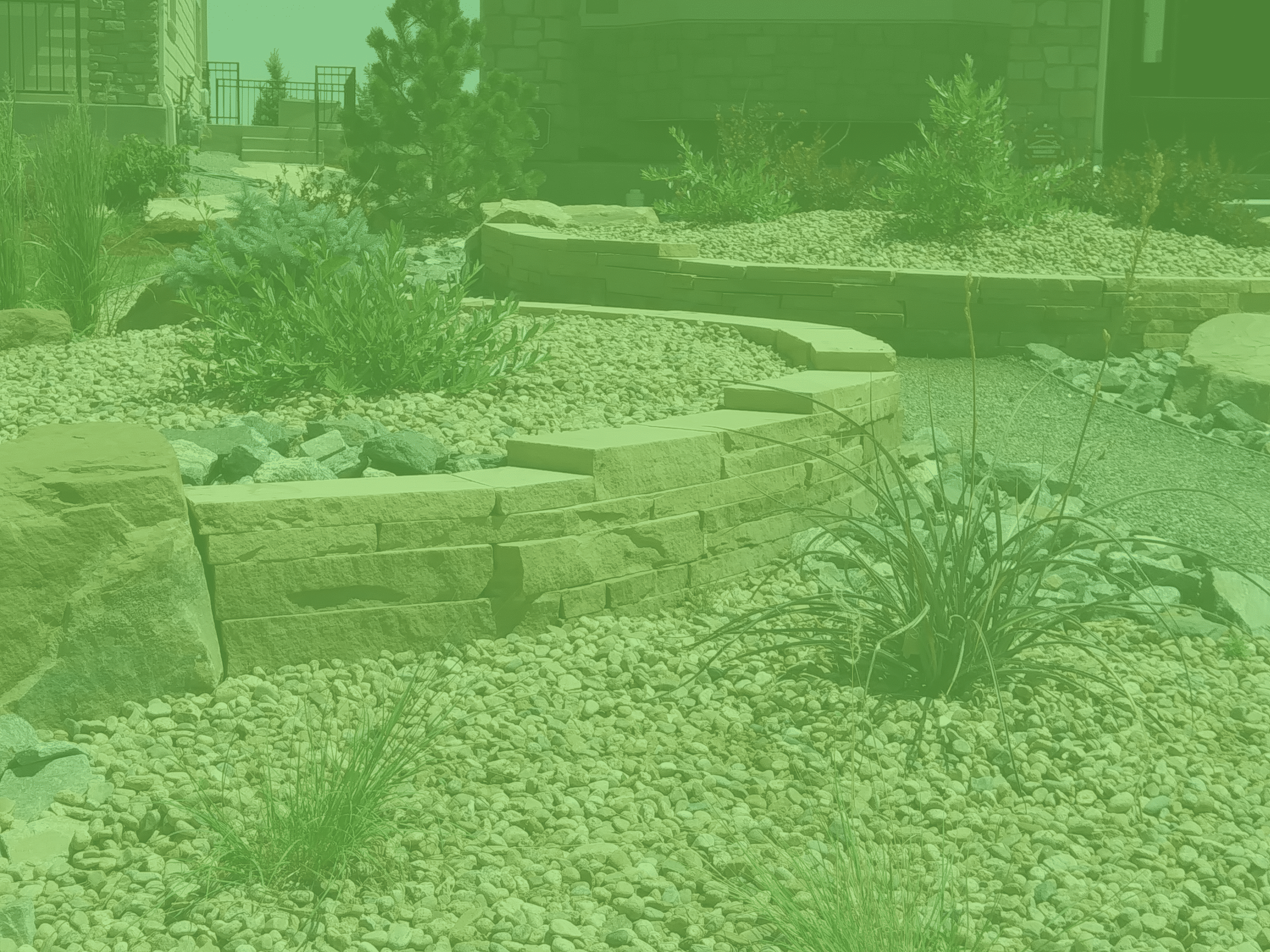 Large decorative rocks bordered with landscape rocks and low water plants and bushes.